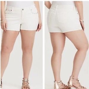 Torrid White Lace Up Pockets Jean Shorts 14
